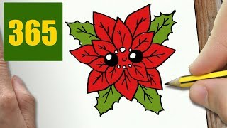 HOW TO DRAW A POINSETTIA CUTE, Easy step by step drawing lessons for kids