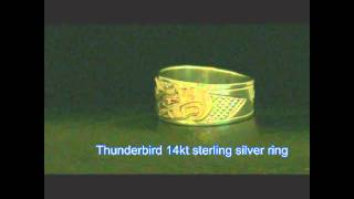 Thunderbird 14kt sterling silver ring Northwest Coast Native American