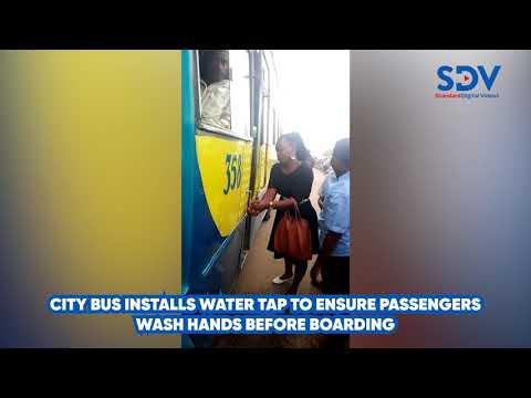 City bus installs tap at entrance to ensure passengers wash hands
