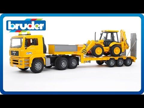 Bruder Toys MAN TGA Low Loader w.JCB Backhoe Loader #02776