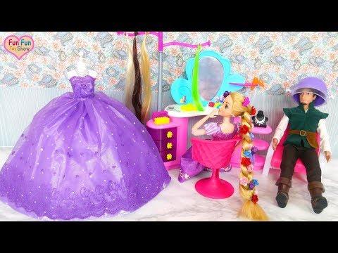 Princess Rapunzel Hair Styling at Barbie Beauty Salon Putri Rapunzel Penataan rambut boneca Princesa