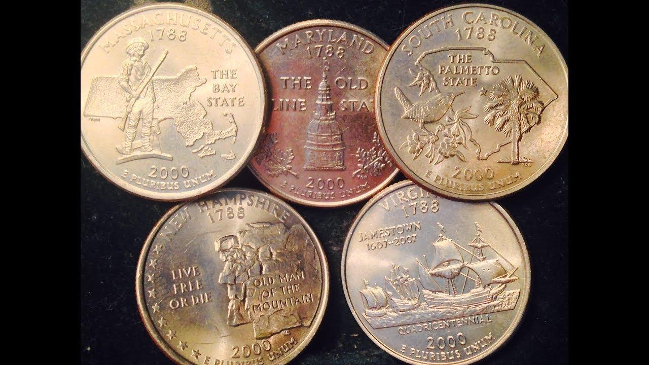2000 State Quarters (Massachusetts, Maryland, South Carolina, New  Hampshire, Virginia)