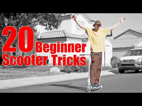 LEARNING 20 EASY SCOOTER TRICKS IN 10 MINUTES *TRICKS FOR BEGINNERS*