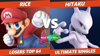 Smash Ultimate Tournament - Rice (Mario) Vs. Hitaku (Mewtwo) Splat Bros SSBU L Top 64