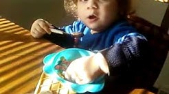 Gypsy baby Jake eating his Lucky Charms !!!