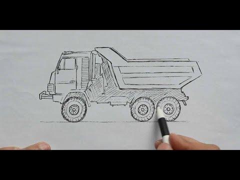 Как нарисовать Камаз Ручкой поэтапно
