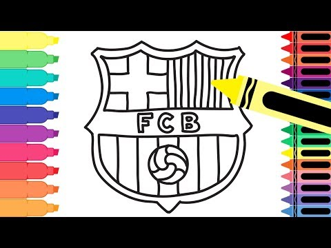 How to Draw FC Barcelona Badge - Drawing the Barca Logo - Coloring Pages for kids | Tanimated Toys
