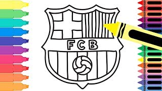 How To Draw Fc Barcelona Badge   Drawing The Barca Logo   Coloring Pages For Kids | Tanimated Toys
