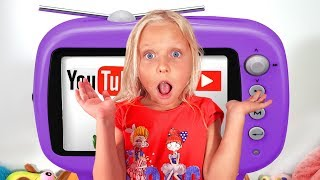 Kids pretend play with magic TV and Giant slide with Toys