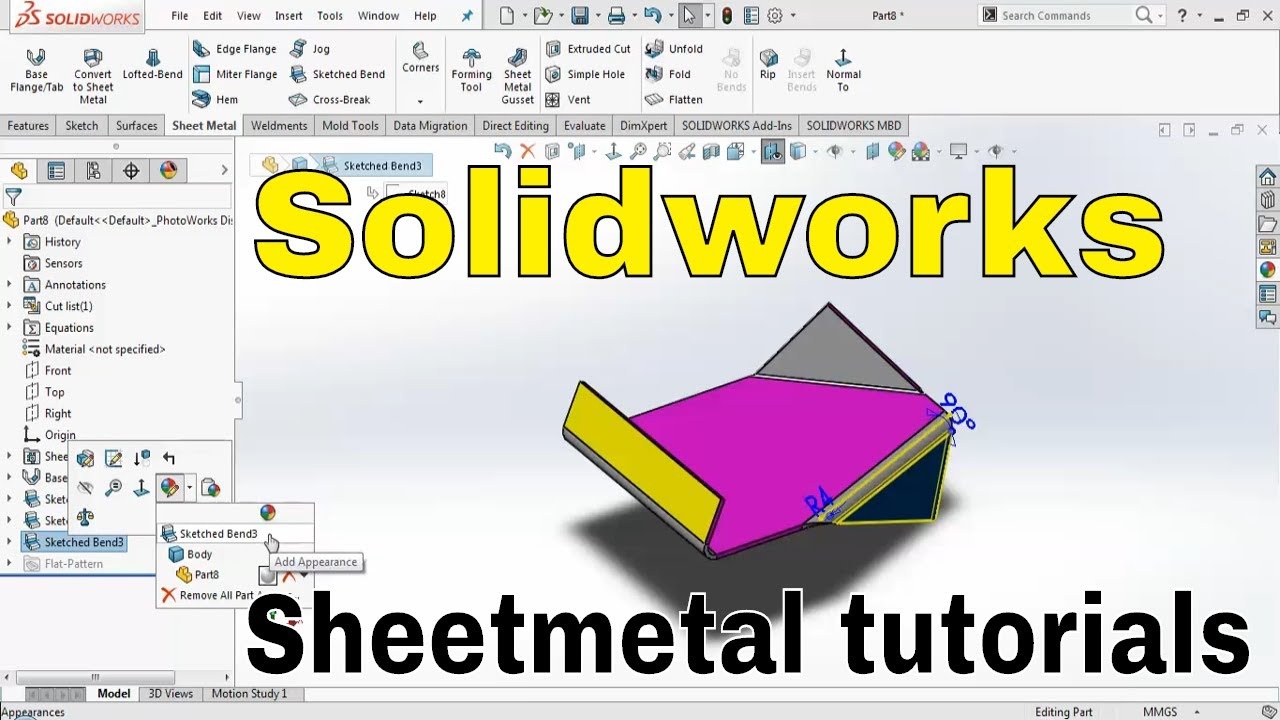 Solidworks 2018 Sheet Metal Sketch Bend In Hindi Basics