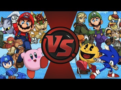 Super Smash Bros Free For All! (Mario vs Sonic, Pac-Man, Kirby, Link, & More!) Nintendo Animation