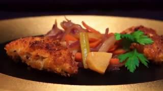 Икра налима в сухарях с овощным соте, имбирём и портвейном
