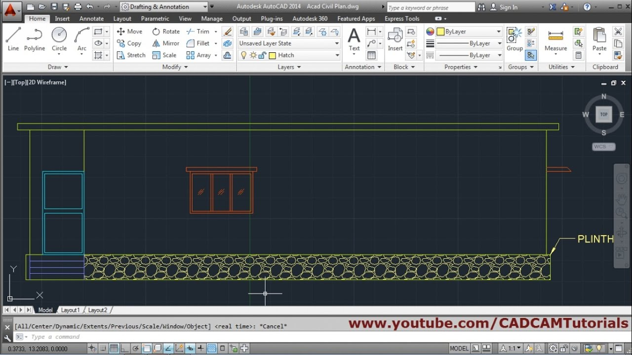 Make A Front Elevation Drawing : Autocad house elevation tutorial youtube