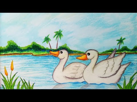How To Draw Easy Scenery With Duck.Step By Step(easy Draw)