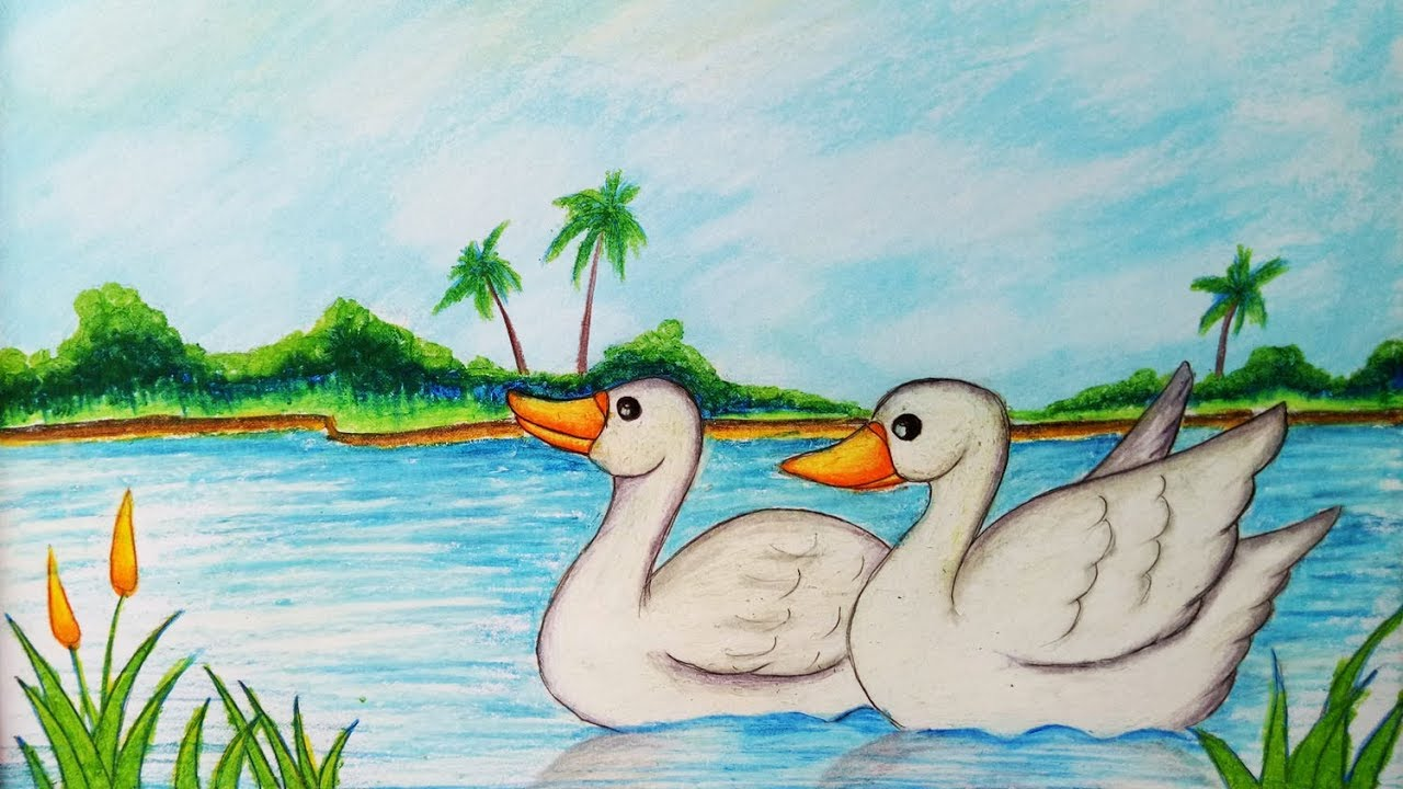 How To Draw Easy Scenery With Duck Step By Step Easy Draw Youtube