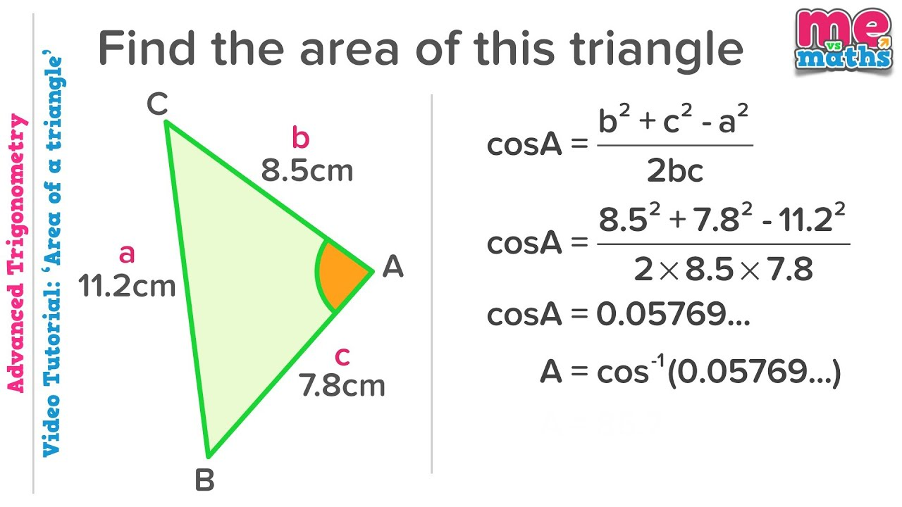 How To Find The Area Of A Triangle Using Trigonometry Youtube