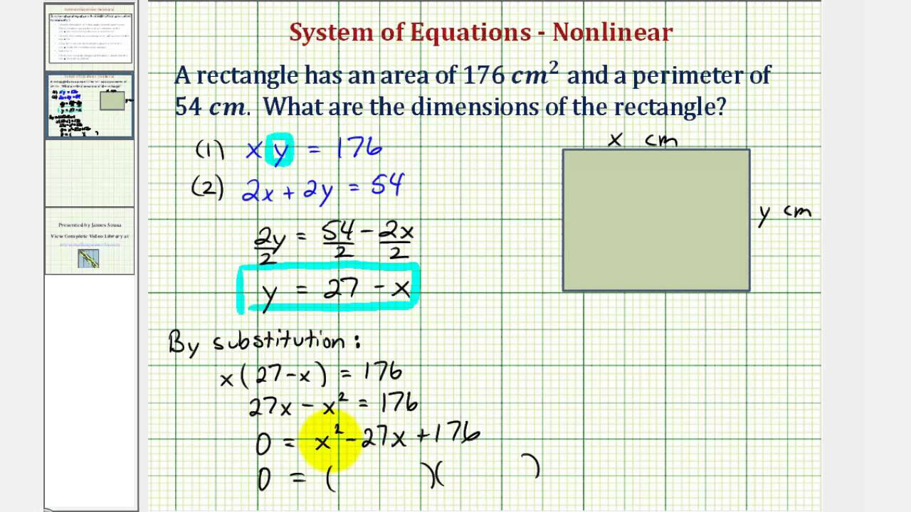 system of nonlinear equations -- area and perimeter application