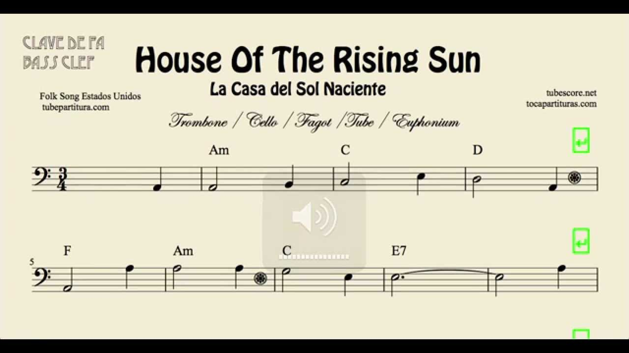 House of the rising sun sheet music for trombone cello for The house music