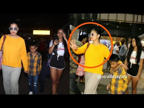 Kajol 's daughter Nysa ANGRY at Kajol after FIGHTING at the Airport as they return from Thailand
