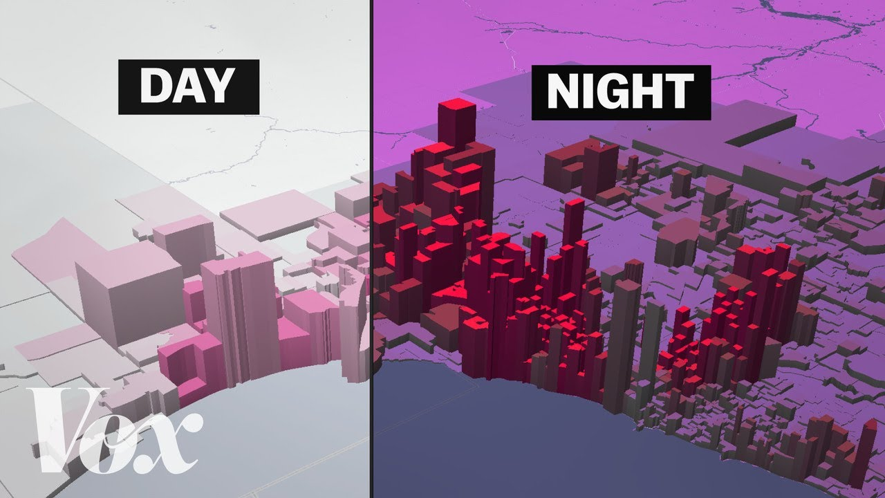 American segregation, mapped at day and night