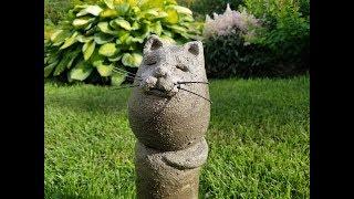 Кот из бетона. Декор для сада. DIY.  The cat is made of concrete.