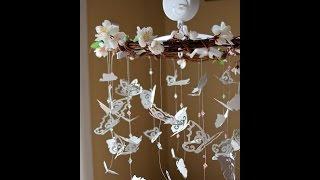 Как сделать красивый абажур из бабочек.How to make beautiful shades of butterflies