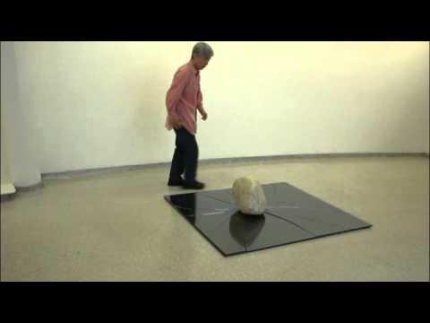 Lee Ufan installing Relatum (Formerly Phenomena and Perception B, 1968/2011)