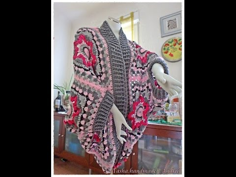Granny Square Sweater, Crochet Cardigan - 2. Part - Step by step for beginners