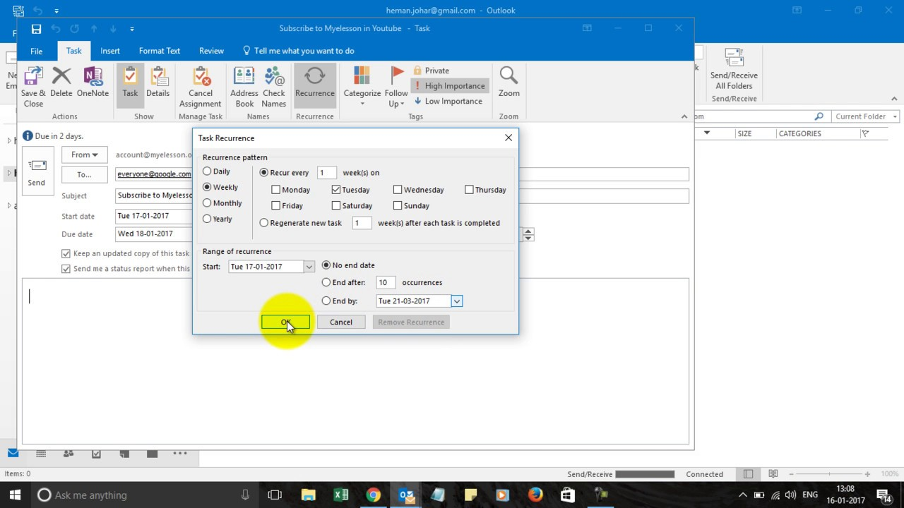 Create And Assign Task In Outlook 2016 Youtube