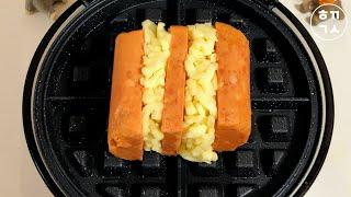 와플메이커로 스팸과 모짜렐라치즈 구워먹기