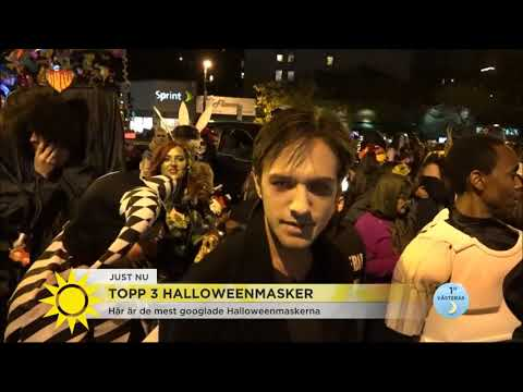 Bill Skarsgårds clown är en av de 3 mest googlade Halloweendräkterna - Nyhetsmorgon (TV4)