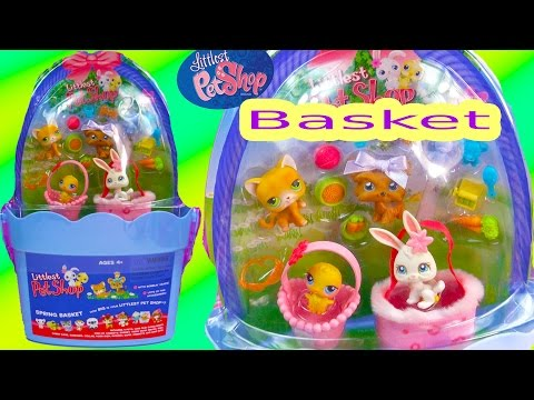 lps-spring-basket-old-style-bobbleheads-easter-littlest-pet-shop-dog-cat-unboxing-toy-review-video