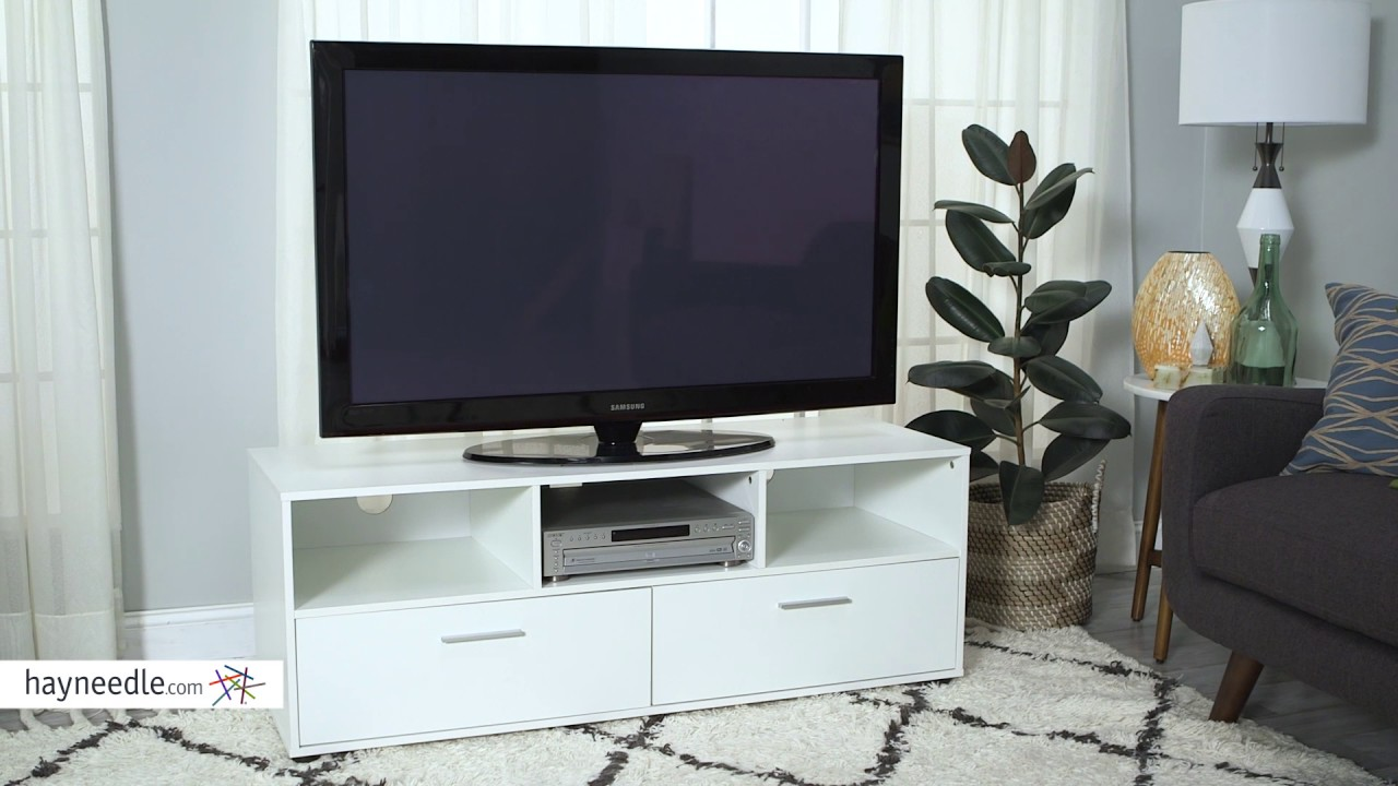 Finley Home Hudson White Low Profile Tv Stand Product Review Video