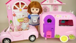 Baby doll pink camping car play baby Doli house