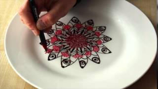 Speed drawing - Mandala on porcelain plate