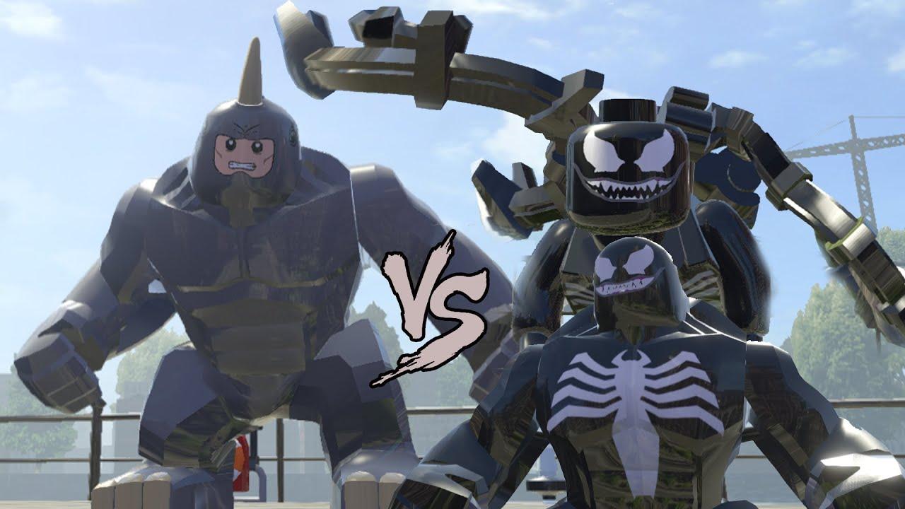 venom vs rhino crazy battle lego marvel super heroes