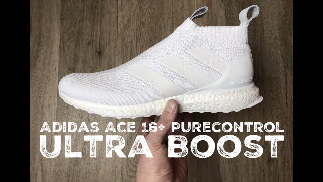 new product 04172 40618 Adidas ACE 16+ Purecontrol Ultra Boost ˋTriple white´  UNBOXING  ON FEET   fashion shoes  17  HD