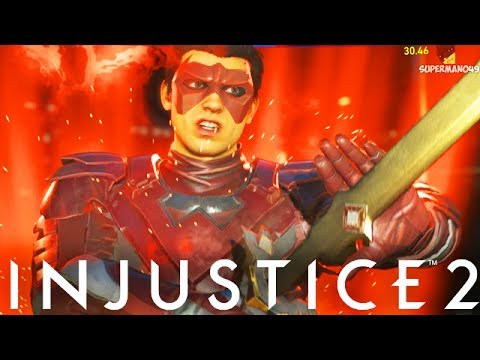 """STAFF OF GRAYSON SUPER COMBOS! - Injustice 2 """"Nightwing"""" Gameplay (Epic Staff of Grayson)"""