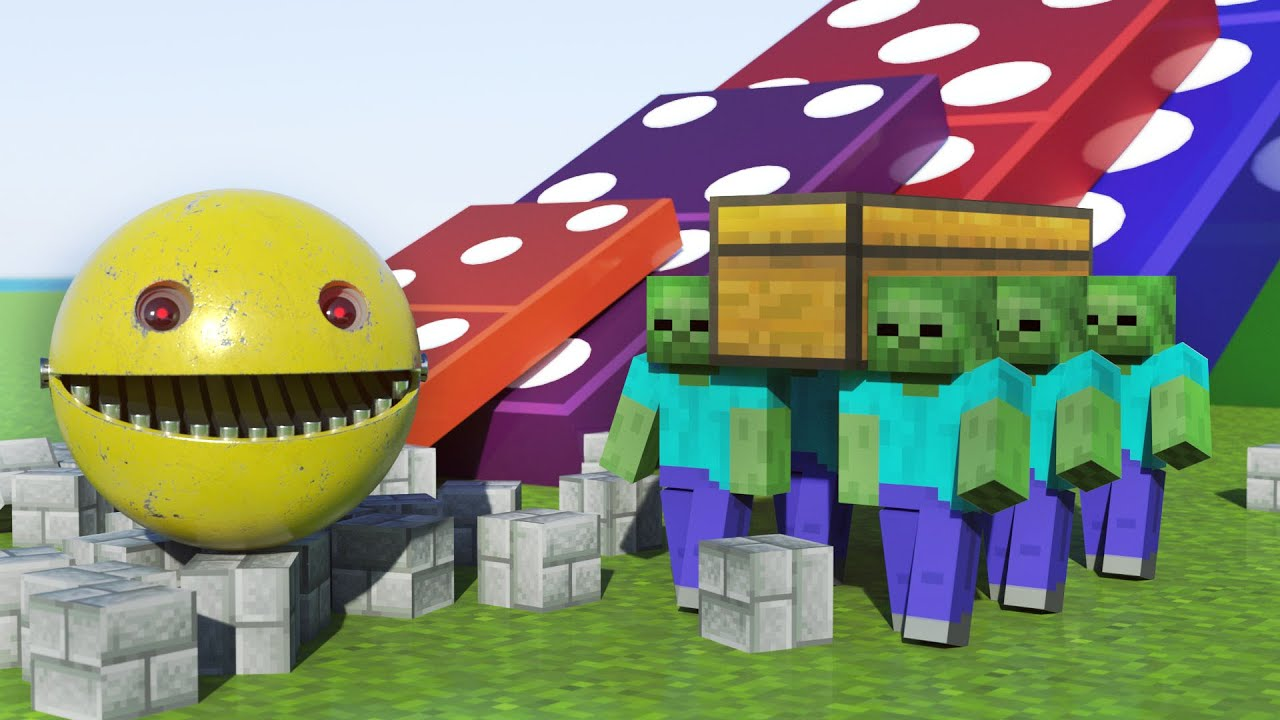 Astronomia Coffin Meme in Minecraft with Pacman VS Zombie and Big Domino Effect