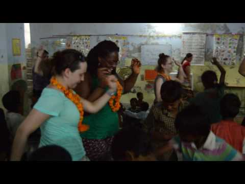 Volunteers have fun with kids from the slums