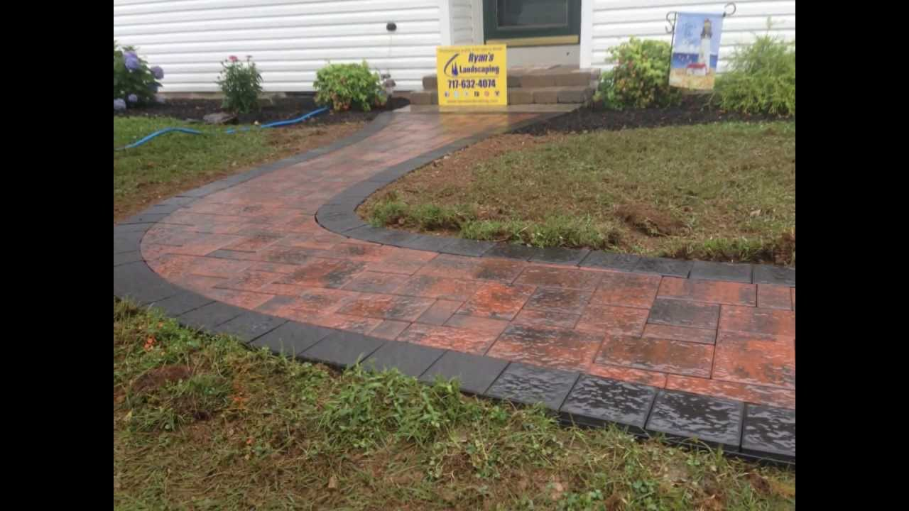 How To Install A 6x6 Border Pavers In Walkway Nicolock Terra Cotta Blend Paver Ryan S Landscaping You