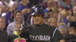 Matsui rips an RBI triple to left in Game 3 of the '07 NLDS