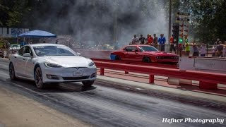 Hellcat Challenger & Charger Challenge New Tesla P90D Ludicrous to a Drag Race!?