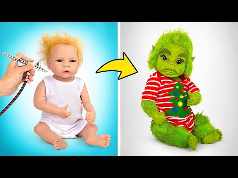 Awesome Transformation Of Reborn Doll Into Baby Grinch