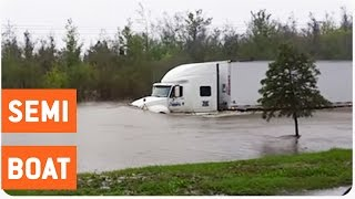 Semi Truck Drives Through Flooded Street | No F