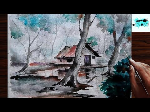 How to make rainy season drawing from watercolor rainy season drawing rain painting