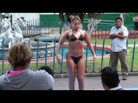 Male-Female Teen Body Building Demonstration