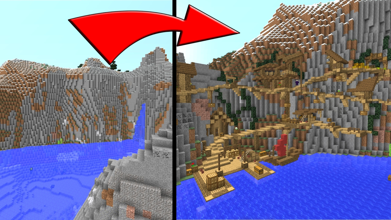 Minecraft how to build a village on a mountain side youtube for How to build a side by side