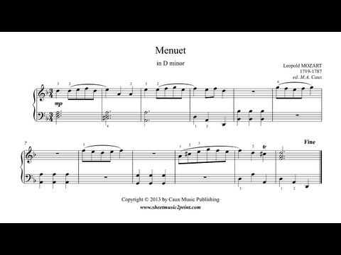 Mozart, Leopold : Menuet in D minor - Notebook for Wolfgang