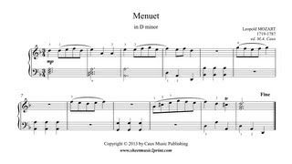 Leopold MOZART : Menuet in D minor - Notebook for Wolfgang